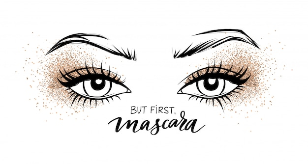 Hermosos ojos con largas pestañas negras y sombra de ojos golden glitter. Vector Premium