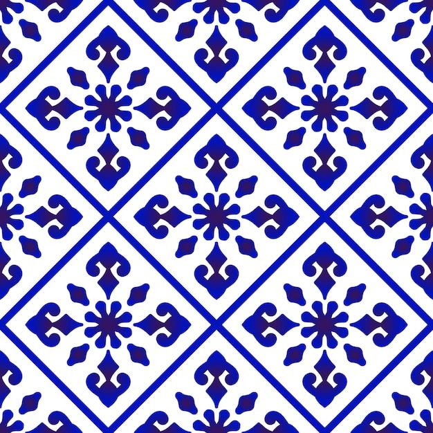 Hermosos patrones de batik Vector Premium