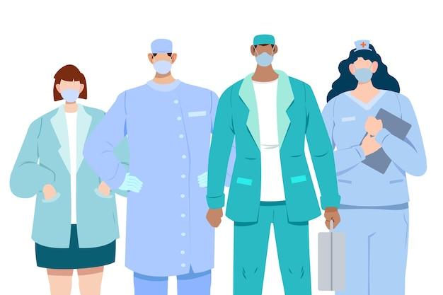 Héroes del sistema médico vector gratuito