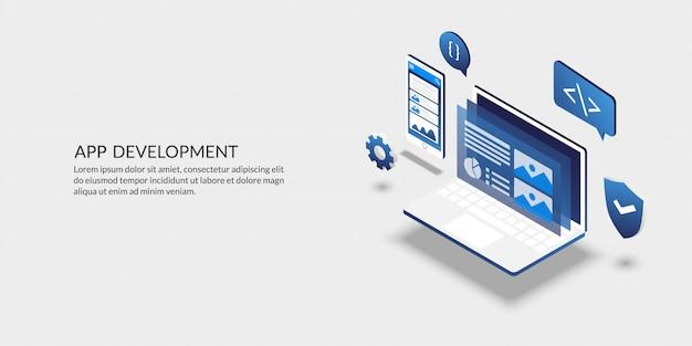 Herramienta de desarrollo de aplicaciones móviles, diseño de interfaz de usuario isométrica. Vector Premium
