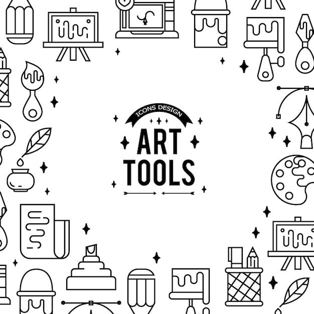 Herramientas De Arte Y Materiales Para Pintar Vector Gratis