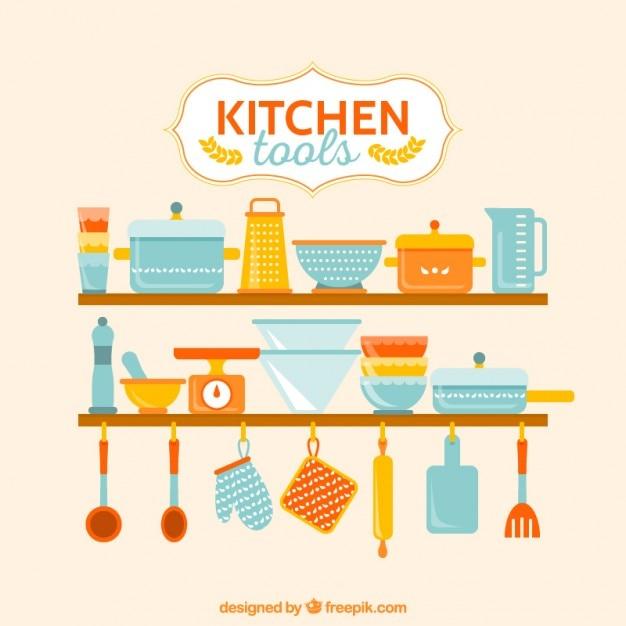 Herramientas coloridas de cocina descargar vectores premium for Herramientas cocina