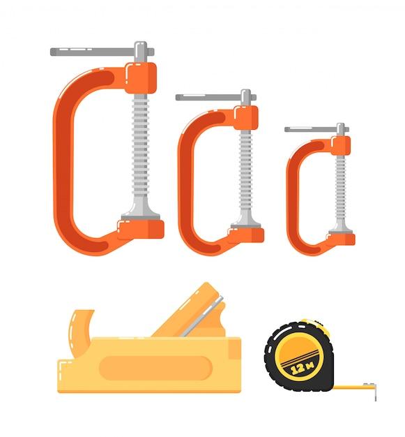 Herramientas de construcción aisladas en blanco Vector Premium