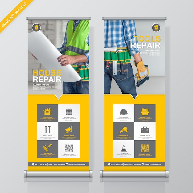 Herramientas de construcción roll up y standee banner diseño plantilla Vector Premium