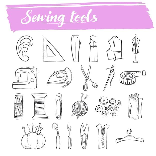 Herramientas de costura y punto doodle conjunto de iconos ...