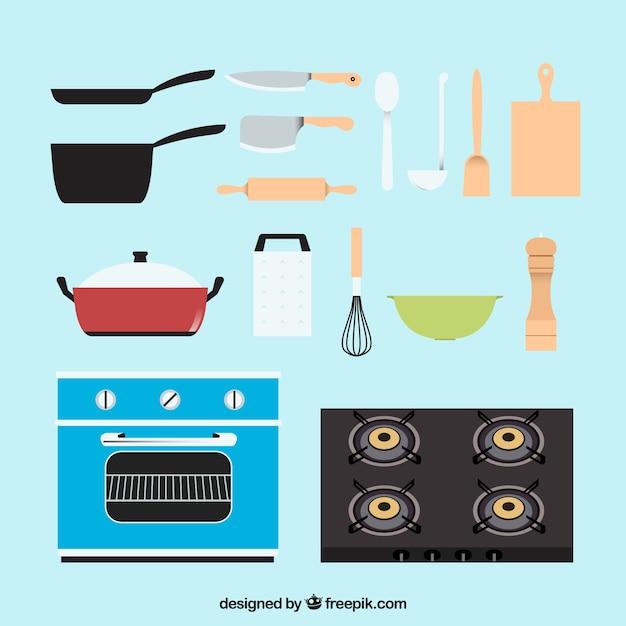 Herramientas de cocina con diseño plano   Descargar Vectores gratis