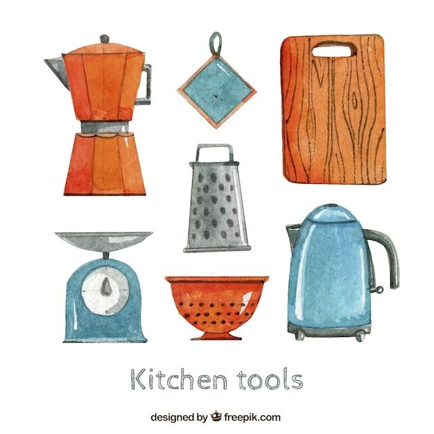 Herramientas de cocina en estilo pintado a mano for Herramientas cocina