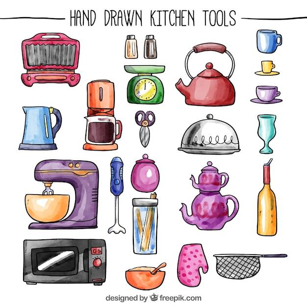 Herramientas de cocina pintadas a mano descargar for Herramientas cocina