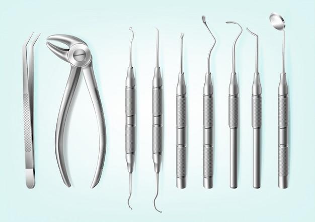 Herramientas dentales profesionales de acero inoxidable realistas para dientes vector gratuito