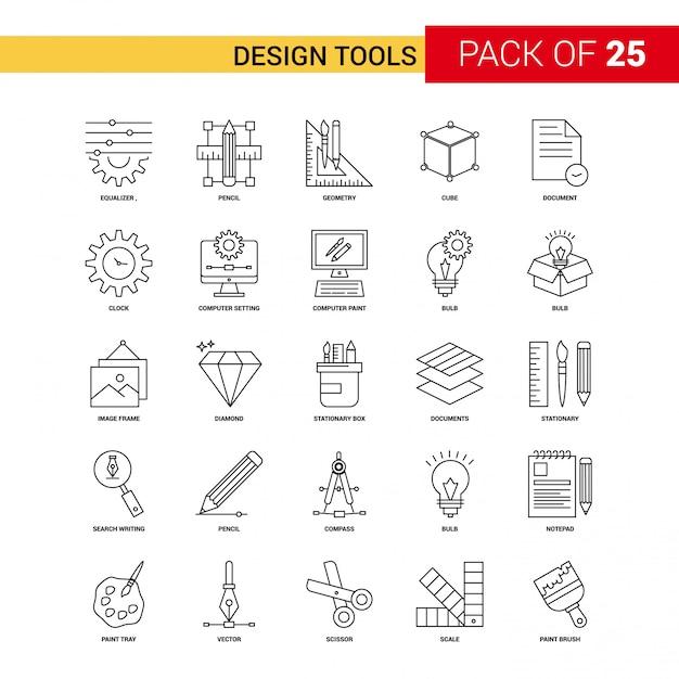 Herramientas de diseño icono de línea negra - 25 conjunto de iconos de esquema de negocios vector gratuito