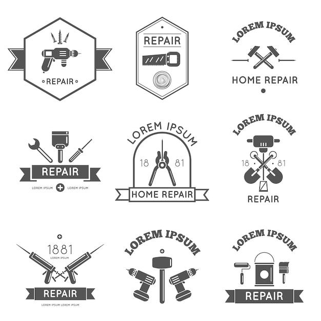 Herramientas de etiqueta de logotipo en blanco y negro para reparación y mejoras para el hogar en color bw ilustración vectorial vector gratuito