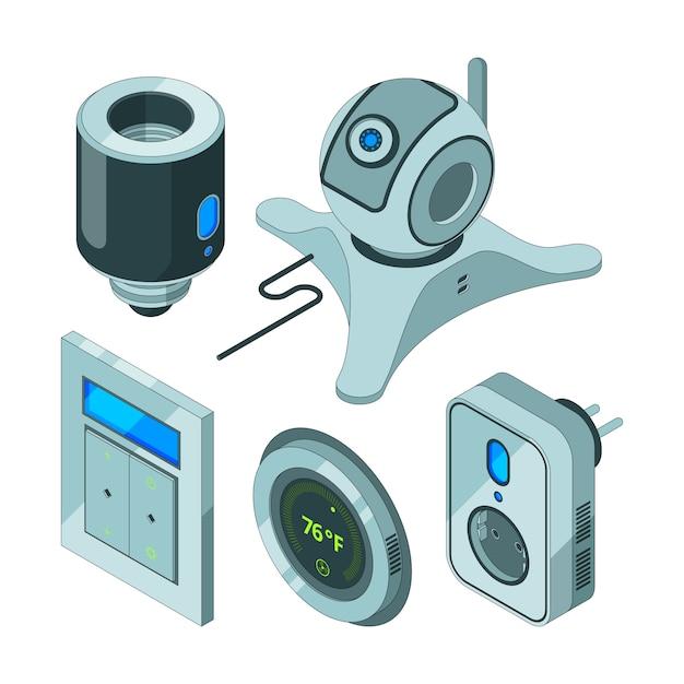 Herramientas inteligentes para el hogar. varios equipos web eléctricos para cámaras de seguridad de la cámara, sensores de movimiento, concentrador isométrico eléctrico Vector Premium