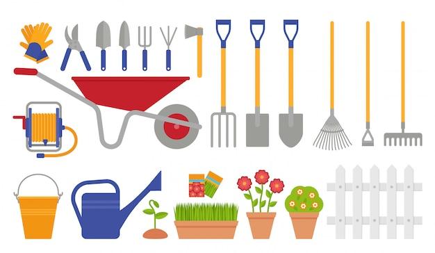 Herramientas de jardín. set de jardinería. ilustración Vector Premium