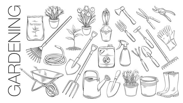 Herramientas de jardinería y plantas o flores describen los iconos. grabado de botas de goma, plantón, tulipanes, lata de jardinería y cortador. fertilizante, guante, crocus, insecticida, carretilla y manguera de riego. Vector Premium