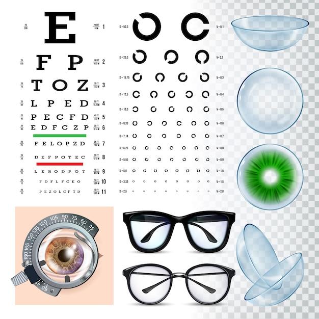 Herramientas de oftalmología, conjunto de equipos de examen de vista Vector Premium