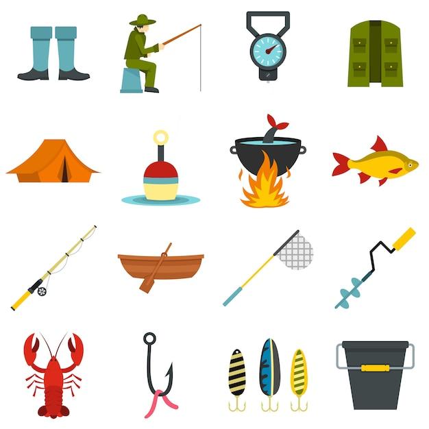 Herramientas de pesca establecer iconos planos Vector Premium