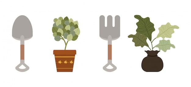 Herramientas de plantas y concepto de jardinería Vector Premium