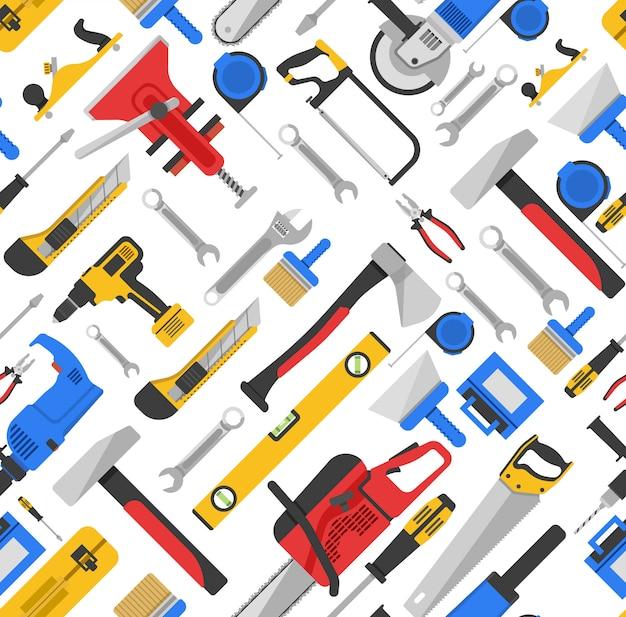 Herramientas de trabajo de patrones sin fisuras con equipos para reparación y carpintería vector gratuito