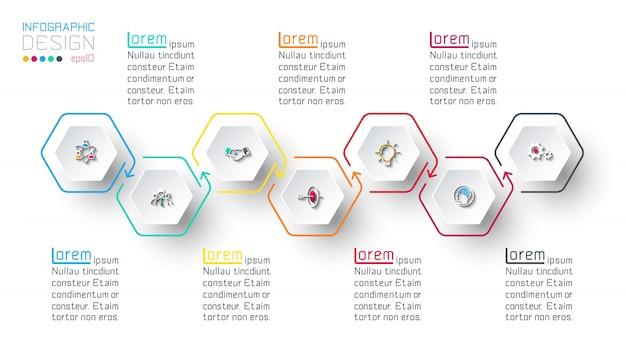 Hexágono inforgraphics sobre gráficos vectoriales. Vector Premium