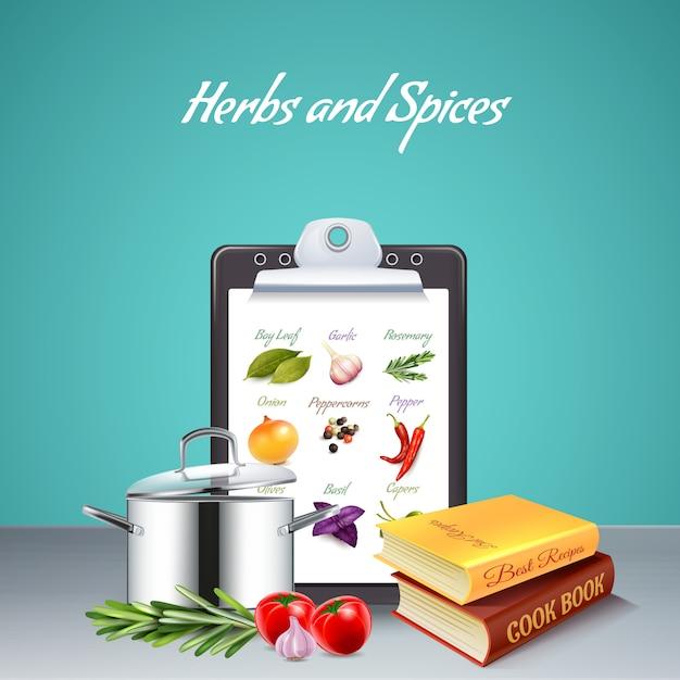 Hierbas y especias realistas con libro de cocina vector gratuito