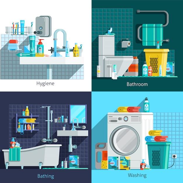 Higiene ortogonal elementos y caracteres. vector gratuito