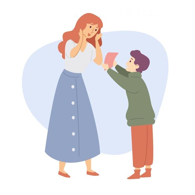 El hijo le da a la madre un regalo felicitación celebración familiar Vector Premium