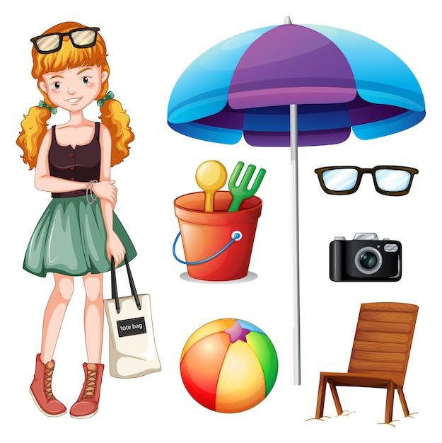 hipster chica y objetos de playa ilustración descargar vectores