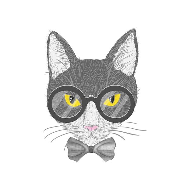Hipster gato con gafas de arco y ojos amarillos aislados ilustración vectorial Vector Gratis