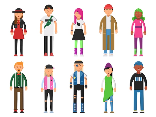 Hipsters de moda. caracteres divertidos alternativos. Vector Premium