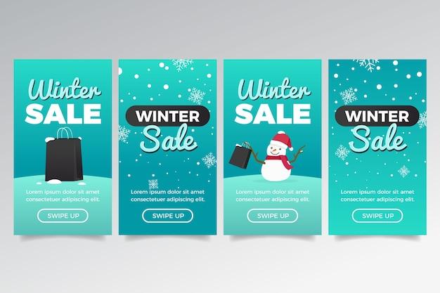 Historia de instagram de rebajas de invierno con nieve y muñeco de nieve vector gratuito