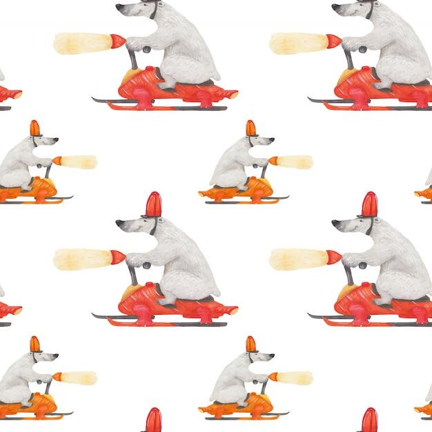 Historia de navidad del oso polar para papel de regalo Vector Premium