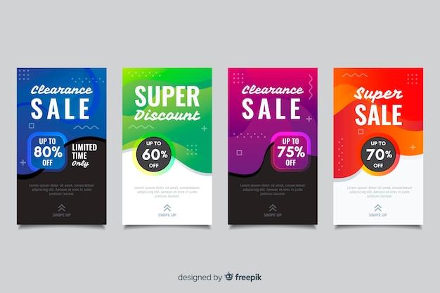 Historias abstractas coloridas de instagram de la venta Vector Premium