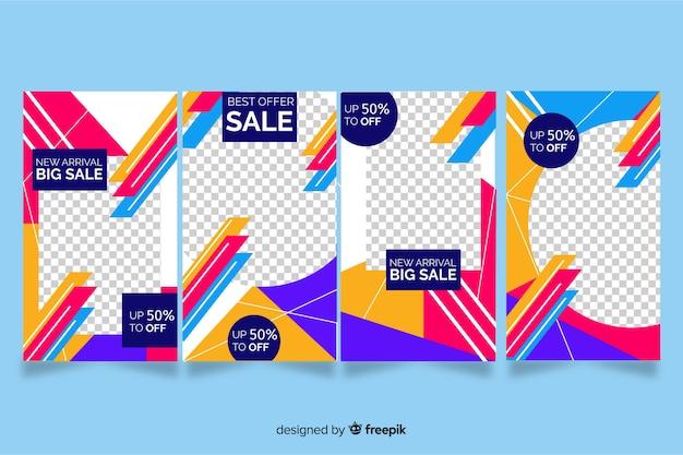 Historias abstractas coloridas de instagram de la venta vector gratuito