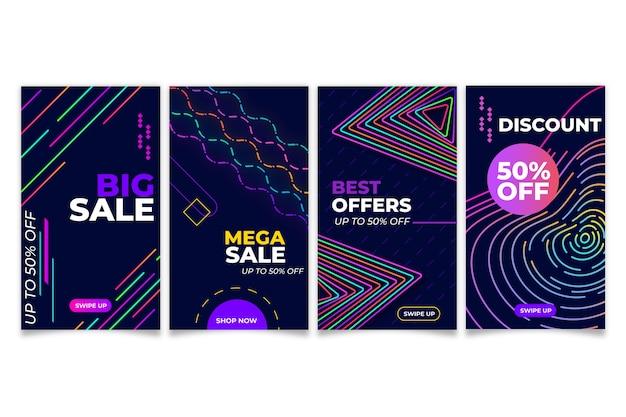 Historias coloridas abstractas de la venta de instagram vector gratuito