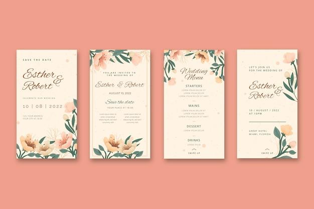 Historias de instagram de bodas florales vector gratuito