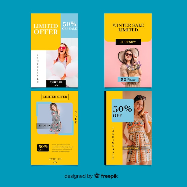Historias de instagram de compras de ropa vector gratuito