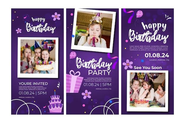Historias de instagram de cumpleaños para niños vector gratuito