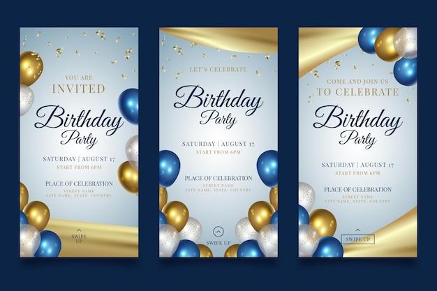 Historias de instagram de fiesta de feliz cumpleaños vector gratuito