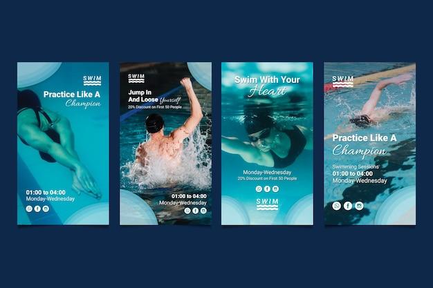 Historias de instagram de natación vector gratuito