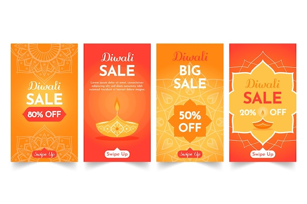 Historias de instagram de rebajas de diwali vector gratuito