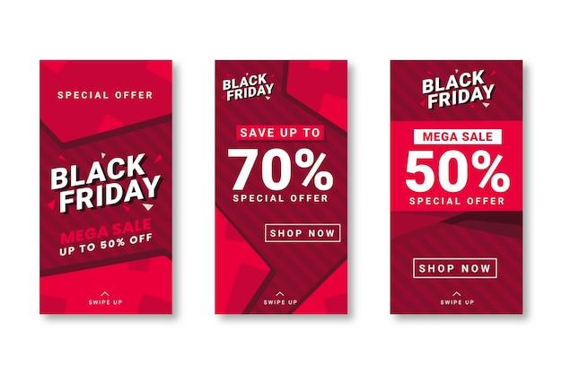 Historias de instagram del viernes negro en diseño plano vector gratuito