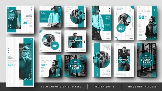 Historias minimalistas de instagram azules y colección de plantillas de banners de publicaciones en redes sociales Vector Premium