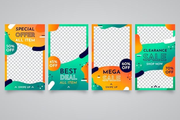 Historias de venta coloridas abstractas para instagram vector gratuito