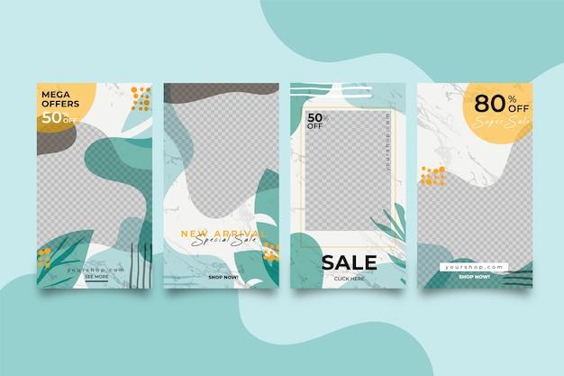 Historias de venta de instagram coloridas abstractas en paquete de estilo de mármol vector gratuito
