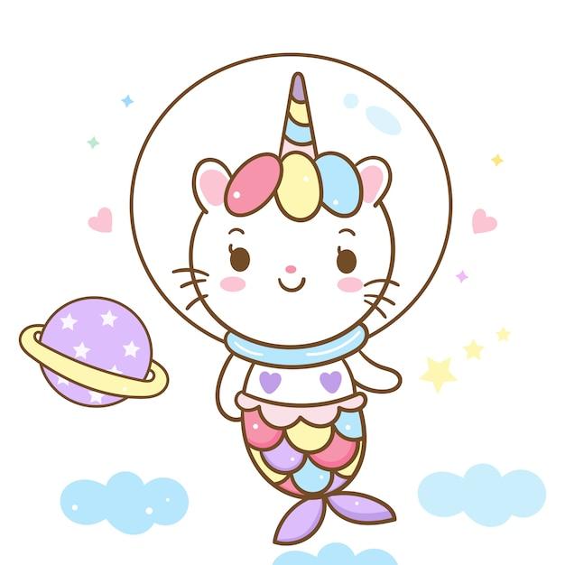 Historieta linda de la sirena del vector del unicornio del gato en el cielo Vector Premium