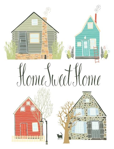 Hogar dulce hogar vector gratuito