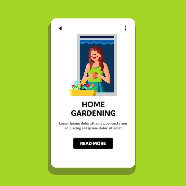 Hogar jardinería alféizar cuidado de plantas hobby Vector Premium