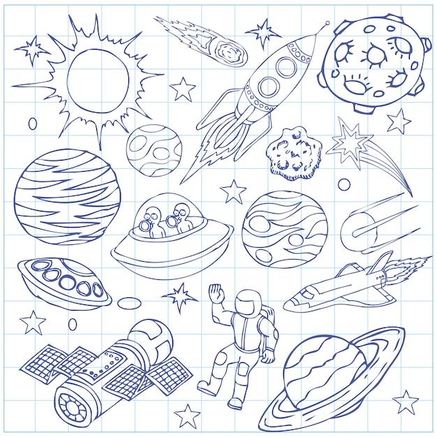 Hoja de cuaderno de ejercicios con garabatos del espacio exterior. Vector Premium