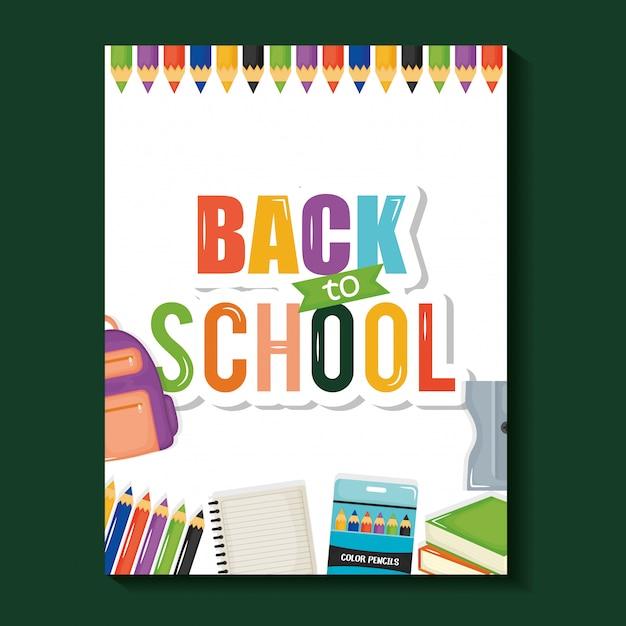 Hoja de cuaderno con regreso a la escuela vector gratuito