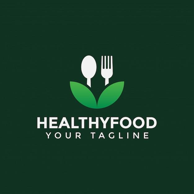Hoja con cuchara y tenedor, comida sana, plantilla de diseño de logotipo de restaurante Vector Premium